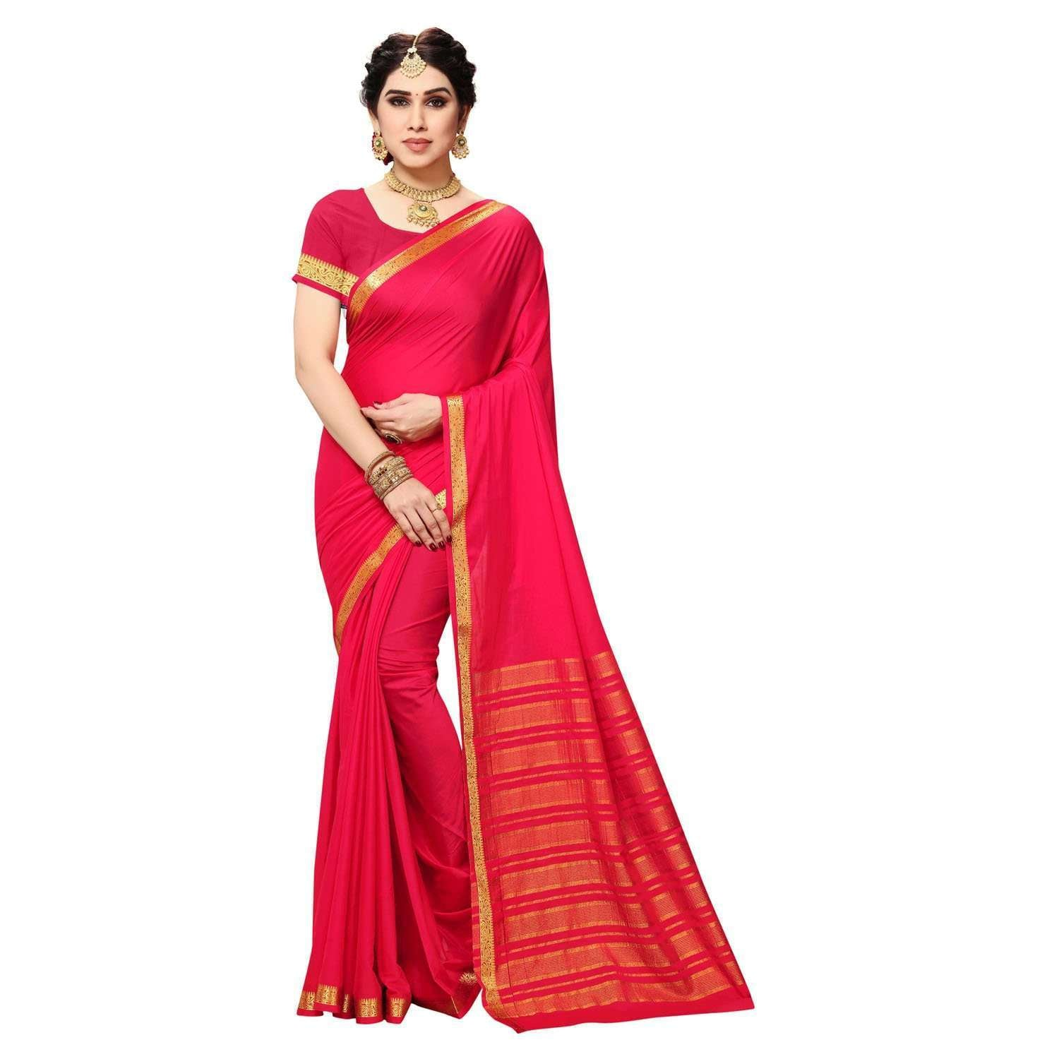 arars Women's Kanchipuram Pattu crepe plain Silk Saree With Blouse (512_strawberry&strawberry )