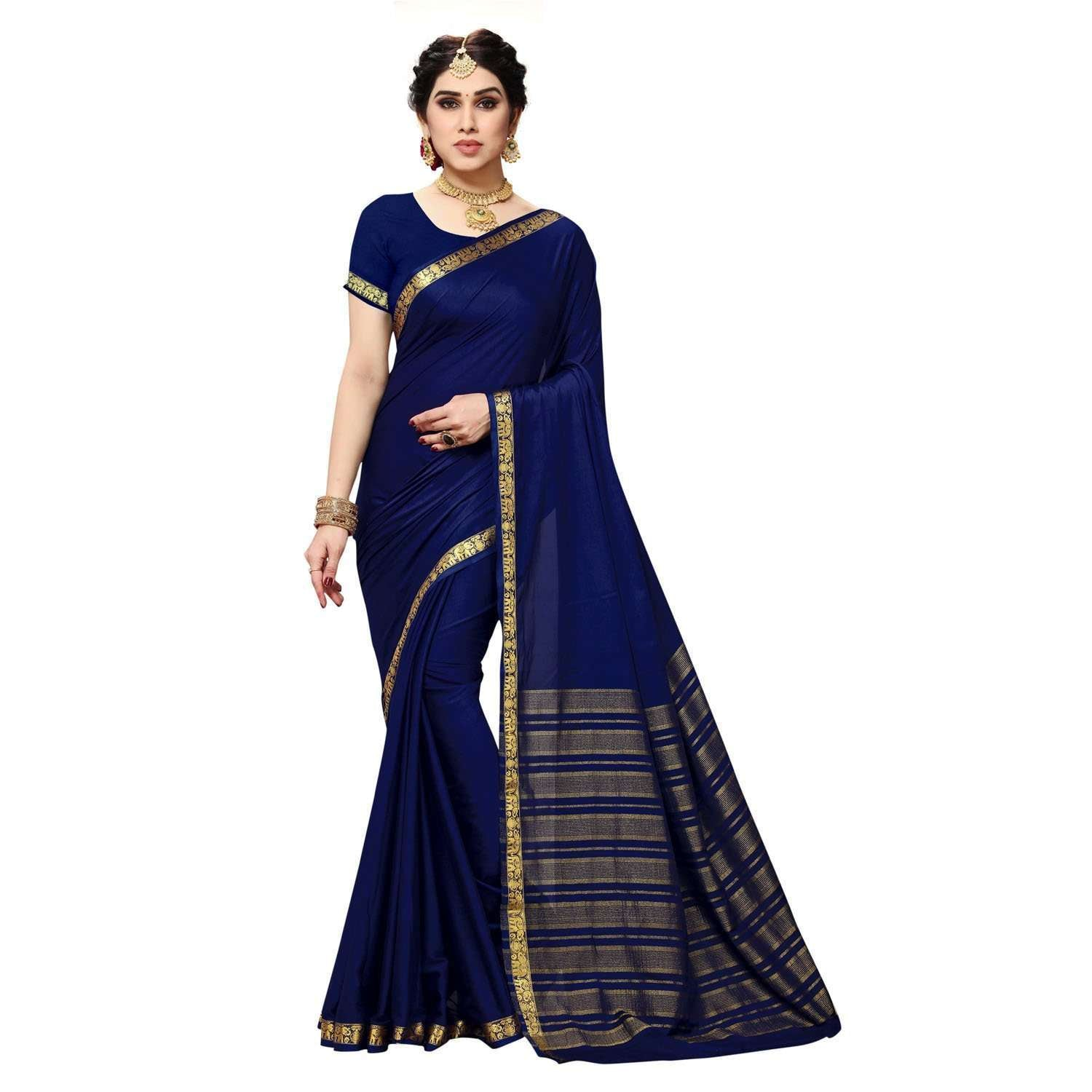 arars Women's Kanchipuram Pattu crepe plain Silk Saree With Blouse (513_navy&navy )