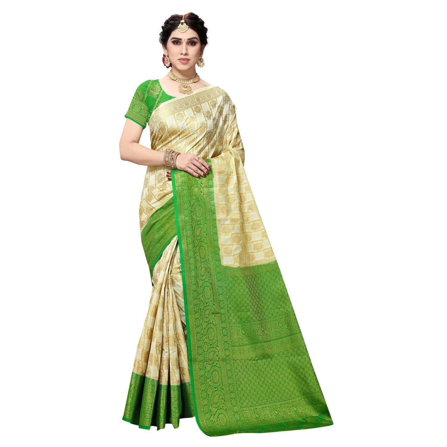 arars Women's Kanchipuram Pattu banarasi Silk Saree With Blouse (515_cream&green )