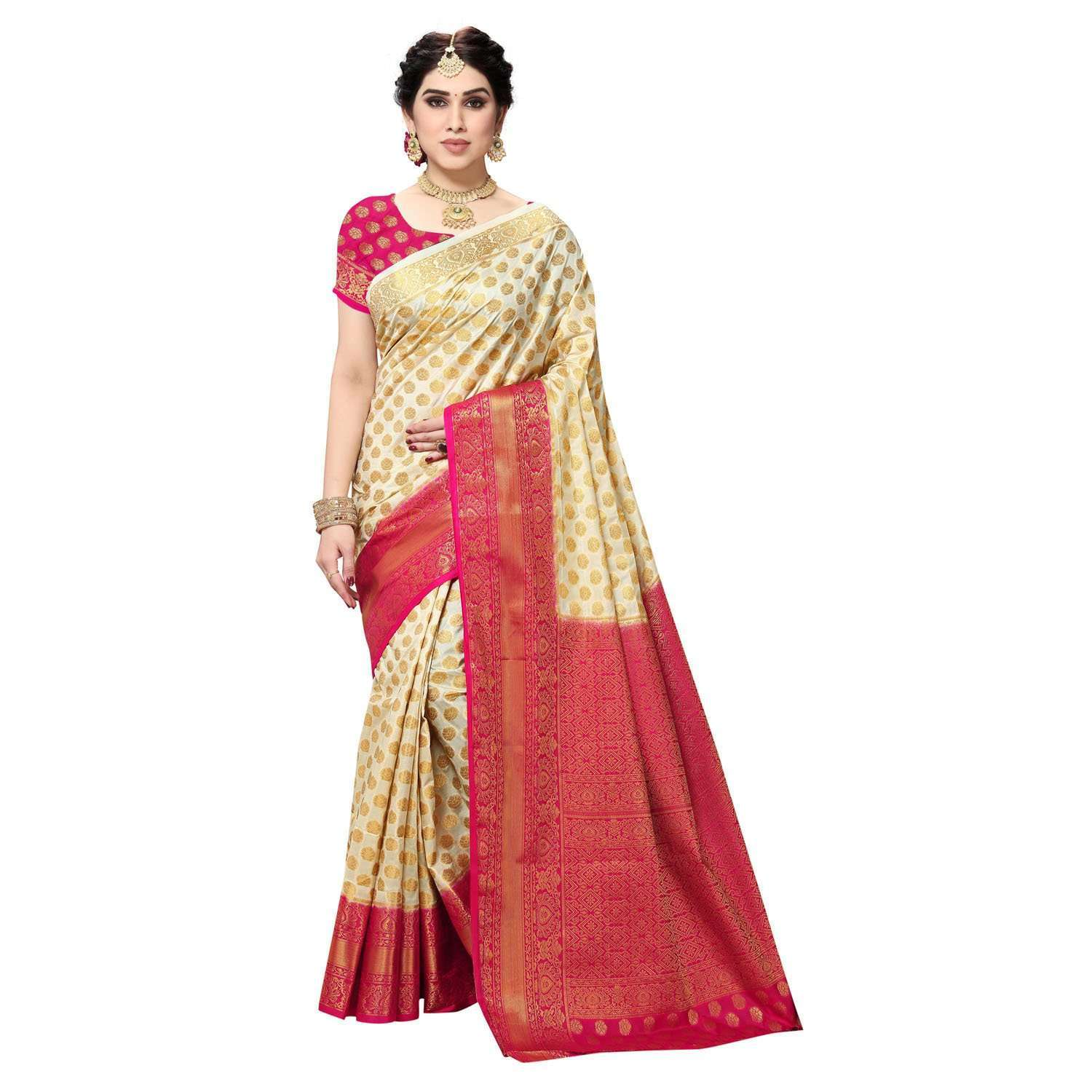 arars Women's Kanchipuram Pattu banarasi Silk Saree With Blouse (516_cream&rani )
