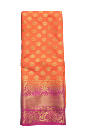 arars Women's Kanchipuram Pattu banarasi Silk Saree With Blouse (516_orange_magentha )