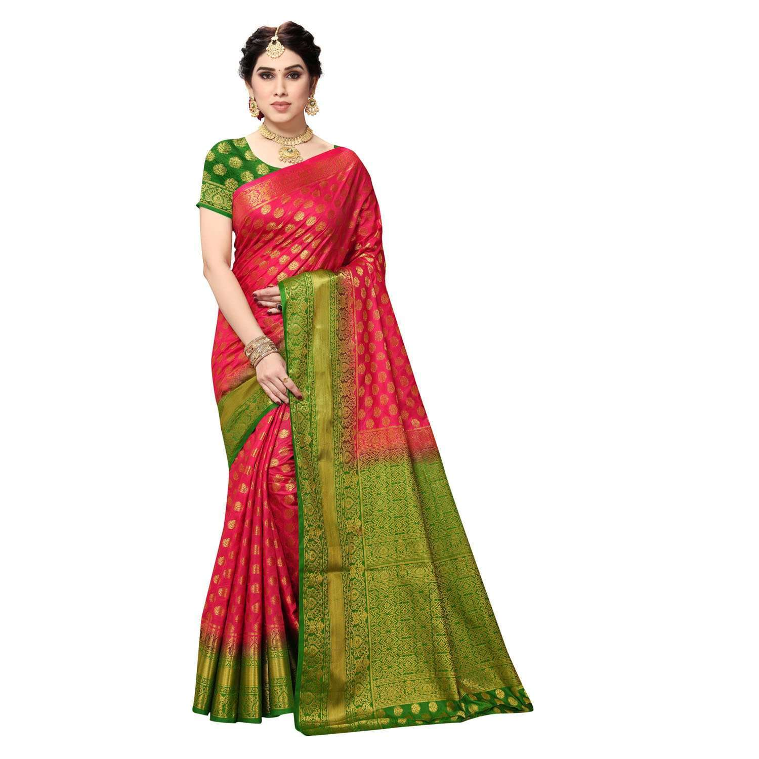 arars Women's Kanchipuram Pattu banarasi Silk Saree With Blouse (516_strawberry&green )
