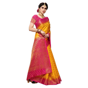 arars Women's Kanchipuram Pattu banarasi Silk Saree With Blouse (517_gold&rani )