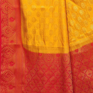 arars Women's Kanchipuram Pattu banarasi Silk Saree With Blouse (517_mustard&red )