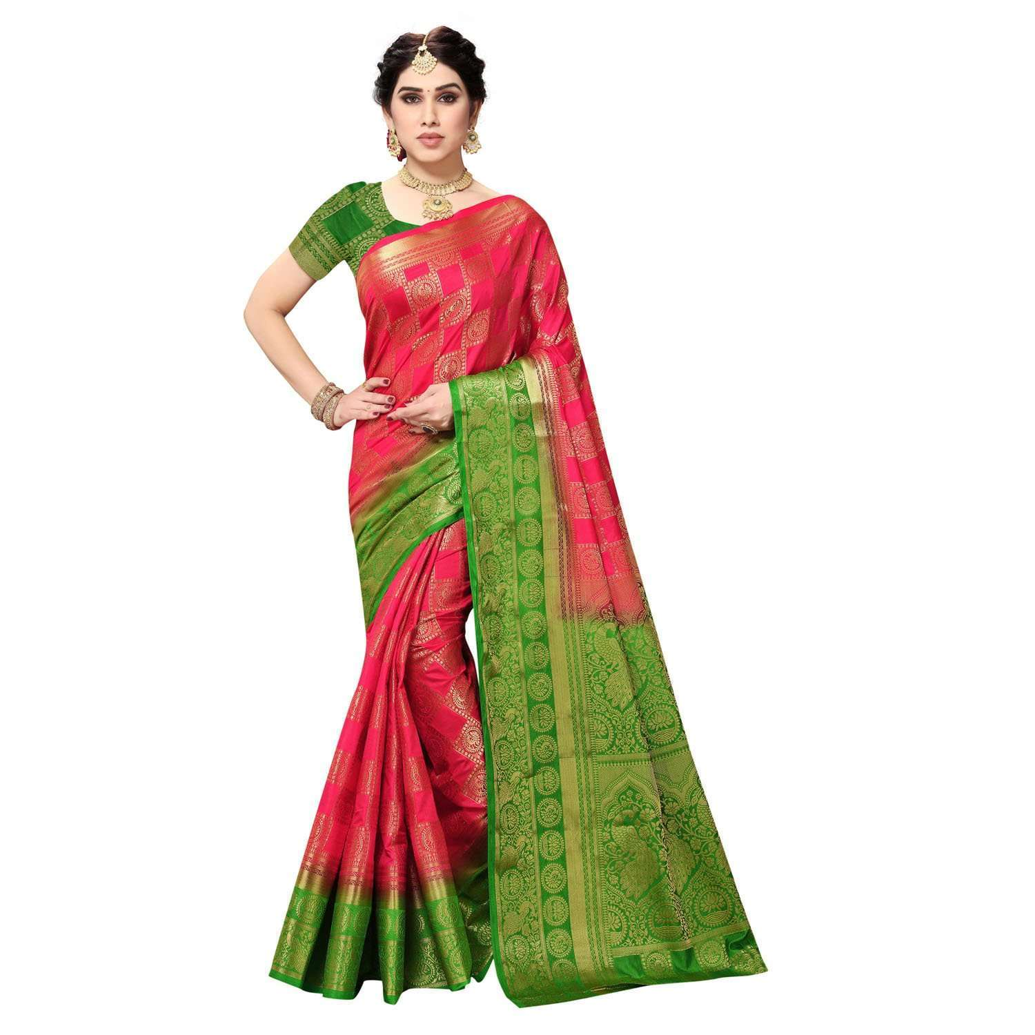 arars Women's Kanchipuram Pattu banarasi Silk Saree With Blouse (518_strawberry&green )
