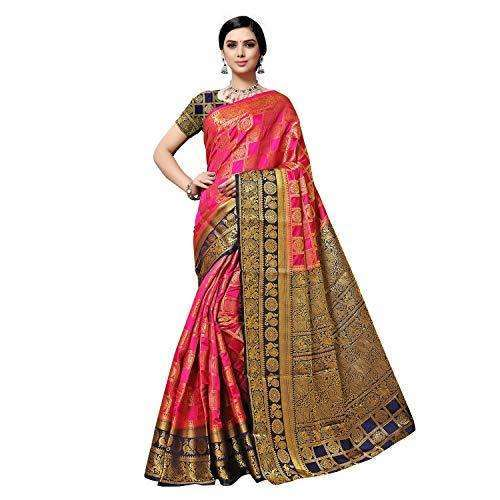 arars Women's kanchipuram kanjivaram pattu style art silk saree with blouse (372,rani)
