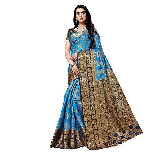 arars Women's kanchipuram kanjivaram pattu style art silk saree with blouse (372,blue)