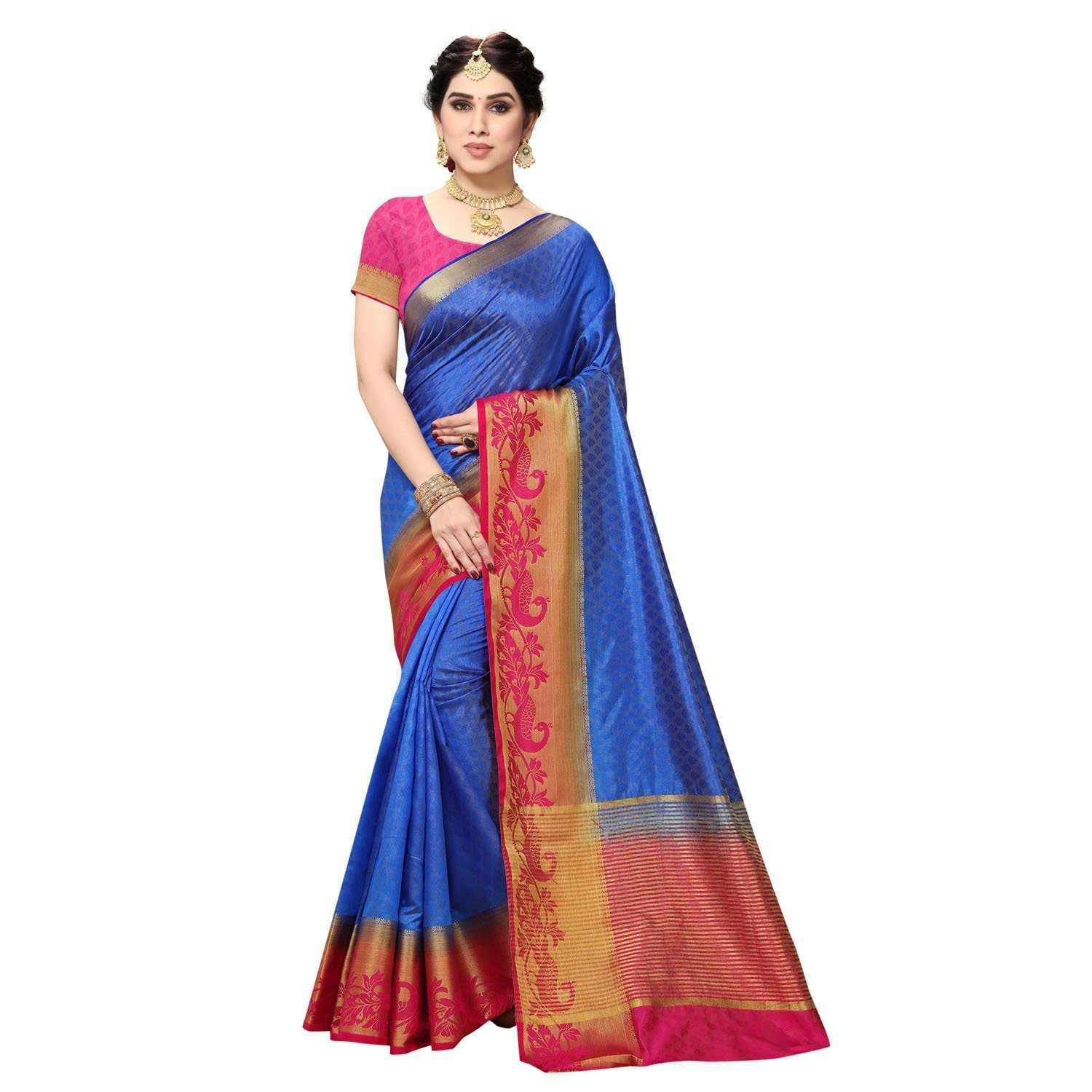 arars Women's Kanchipuram Pattu plain embosed Silk Saree With Blouse (524_royal_rani )