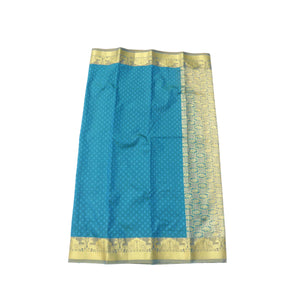 arars Women's Kanchipuram Pattu rich pallu Silk Saree With Blouse (528_blue_mustard )