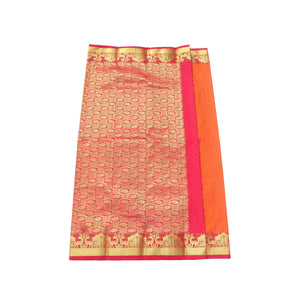 arars Women's Kanchipuram Pattu rich pallu Silk Saree With Blouse (528_mustard_rani )