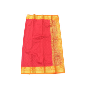 arars Women's Kanchipuram Pattu rich pallu Silk Saree With Blouse (528_red_mustard )