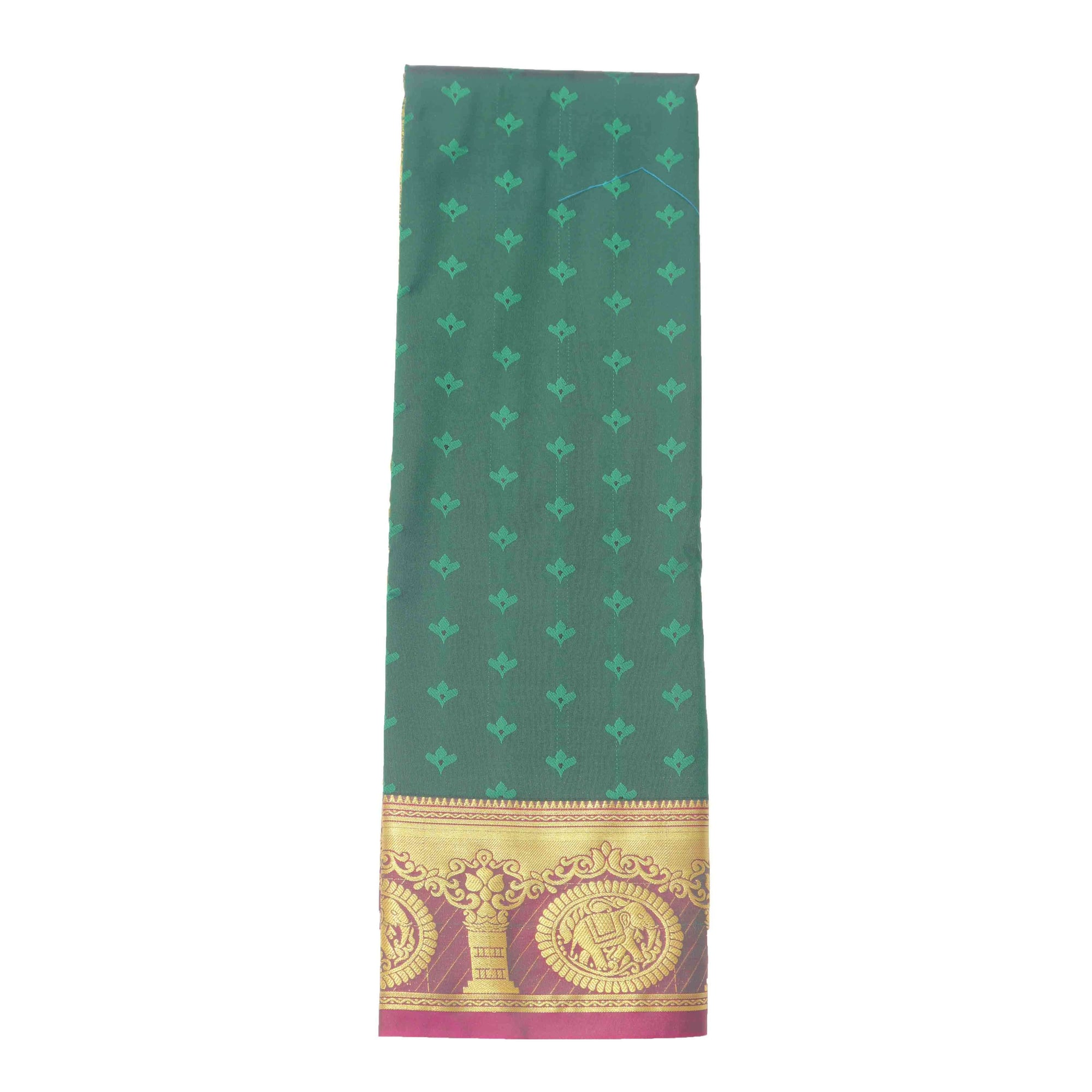 arars Women's Kanchipuram Pattu rich pallu Silk Saree With Blouse (529_bgreen_magentha )