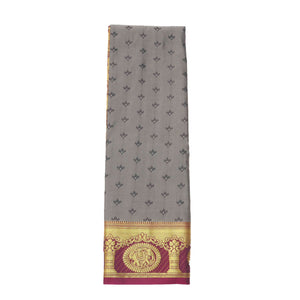 arars Women's Kanchipuram Pattu rich pallu Silk Saree With Blouse (529_grey_magentha )