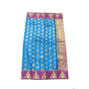 arars Women's Kanchipuram Pattu art Silk Saree With Blouse (531_blue_magentha )