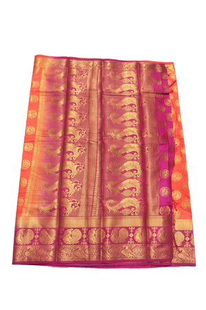 arars Women's Kanchipuram Pattu Banarasi Silk Saree With Blouse (533_oramge_magentha )