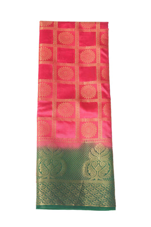 arars Women's Kanchipuram Pattu Banarasi Silk Saree With Blouse (535_strawberry_green )