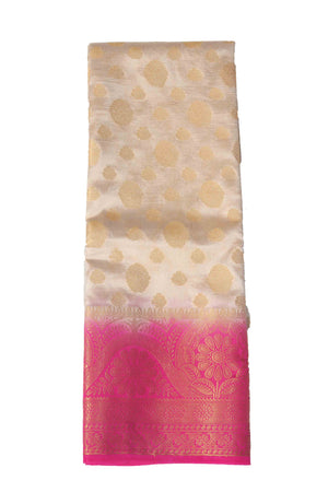 arars Women's Kanchipuram Pattu Banarasi Silk Saree With Blouse (536_cream_rani )