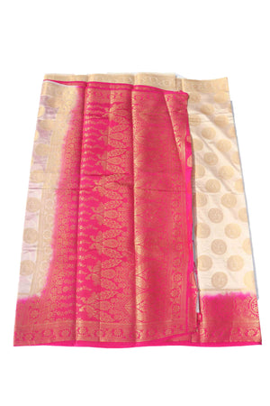 arars Women's Kanchipuram Pattu Banarasi Silk Saree With Blouse (539_cream_rani )