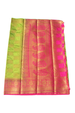 arars Women's Kanchipuram Pattu Banarasi Silk Saree With Blouse (540_parrot_rani )