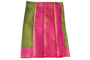 arars Women's Kanchipuram Pattu Banarasi Silk Saree With Blouse (542_olive_rani )