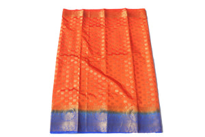 arars Women's Kanchipuram Pattu Banarasi Silk Saree With Blouse (542_orange_royal )
