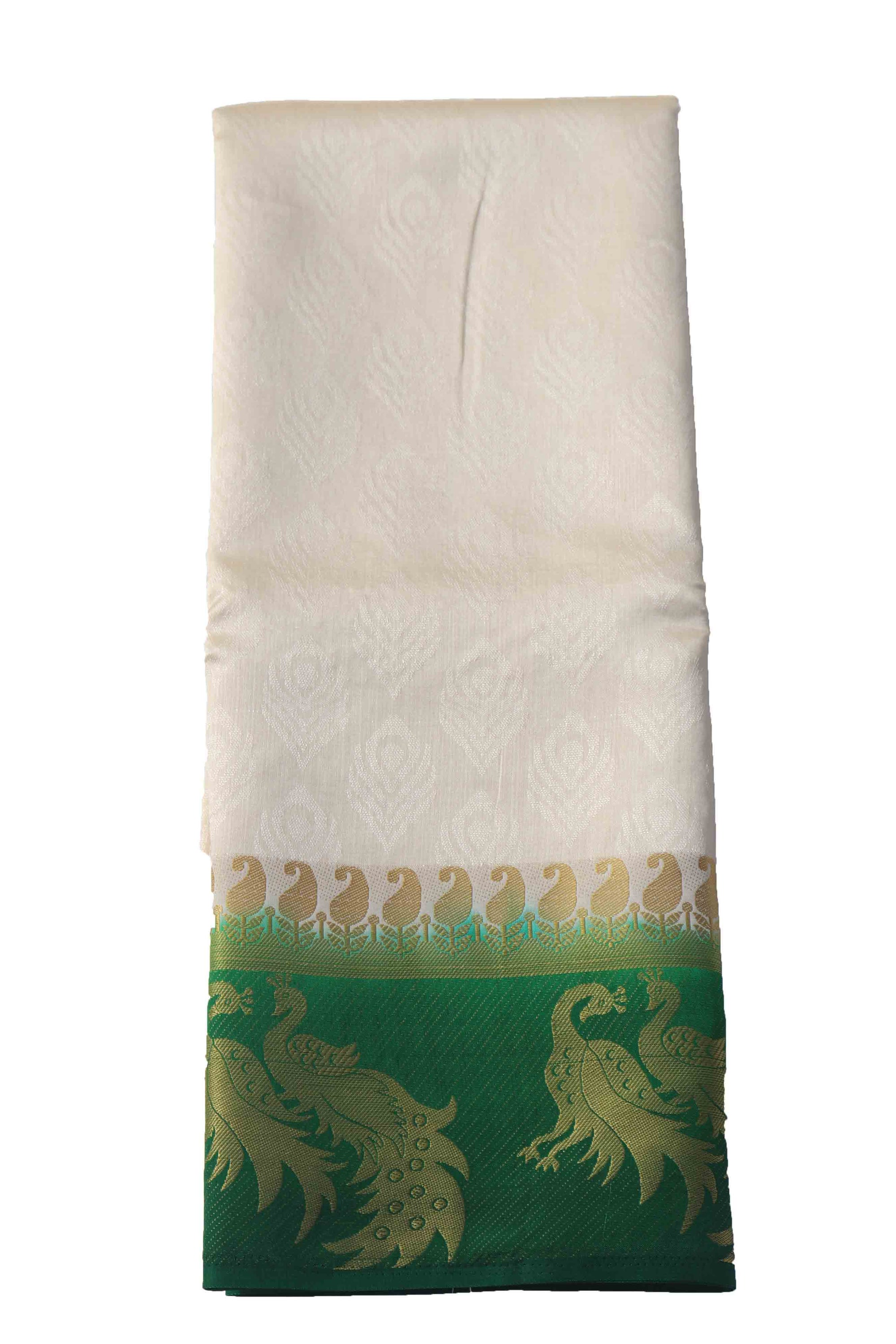 arars Women's Kanchipuram Pattu plain embosed Silk Saree With Blouse (545_cream_green )