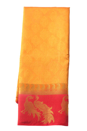 arars Women's Kanchipuram Pattu plain embosed Silk Saree With Blouse (545_mustard_red )