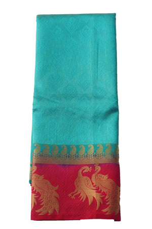 arars Women's Kanchipuram Pattu plain embosed Silk Saree With Blouse (545_safair_rani )