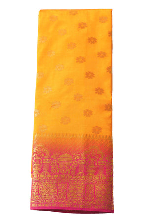 arars Women's Kanchipuram Pattu Banarasi Silk Saree With Blouse (547_gold_rani )