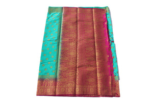 arars Women's Kanchipuram Pattu Banarasi Silk Saree With Blouse (547_rama_magentha )