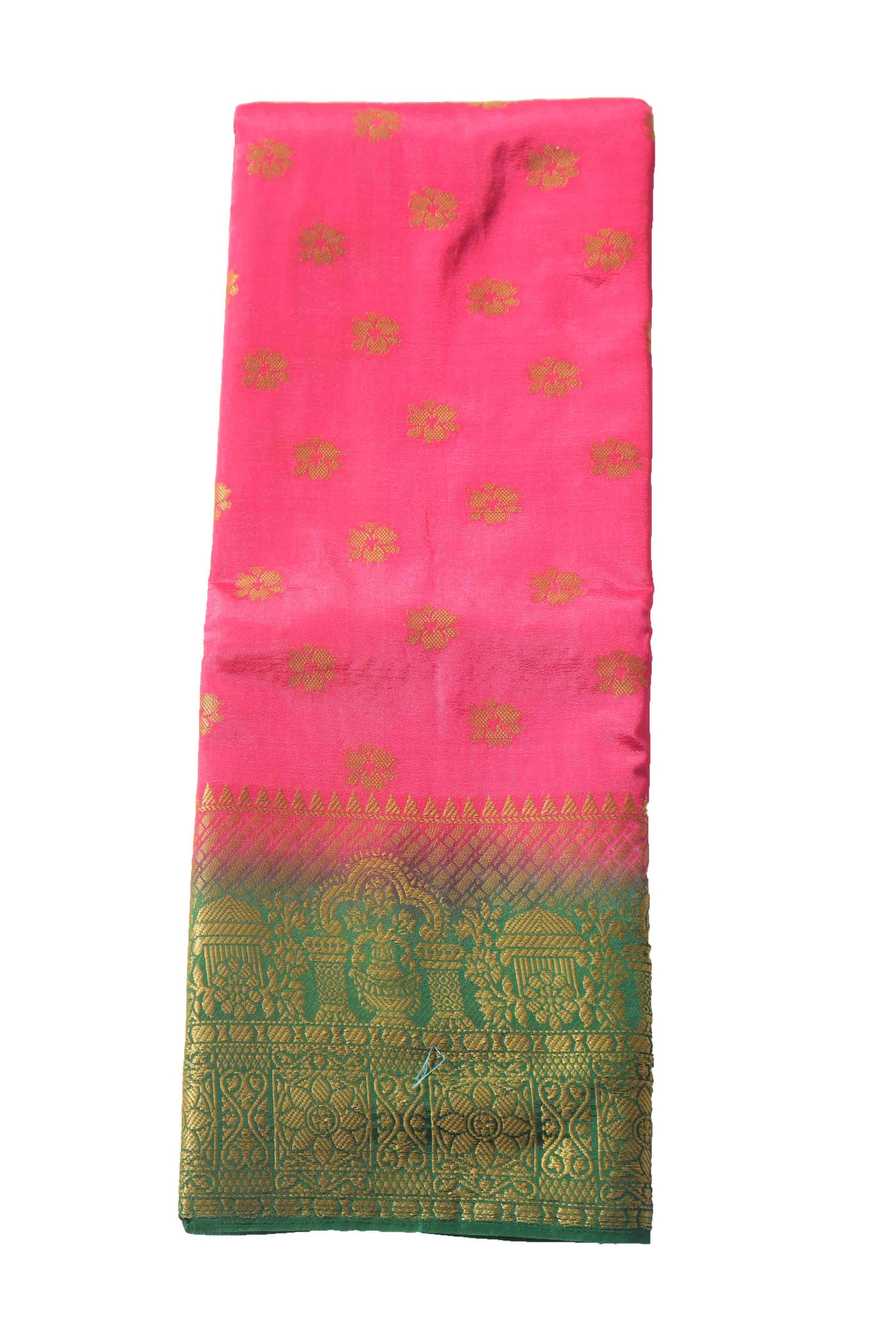 arars Women's Kanchipuram Pattu Banarasi Silk Saree With Blouse (547_strawberry_green )