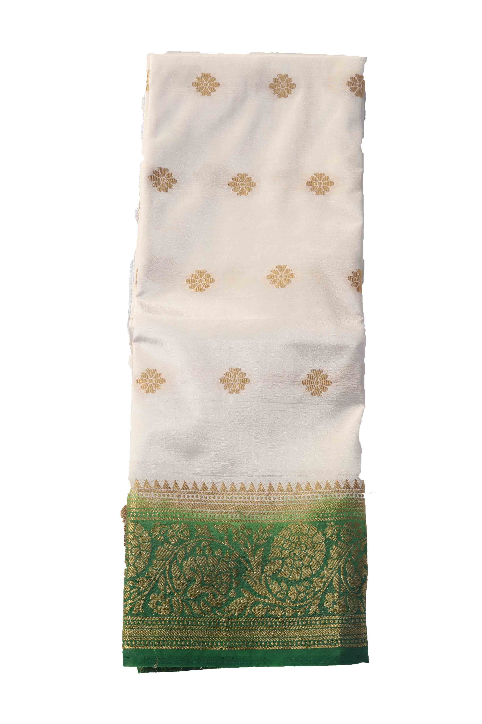 arars Women's Kanchipuram Pattu Banarasi Silk Saree With Blouse (549_cream_green )