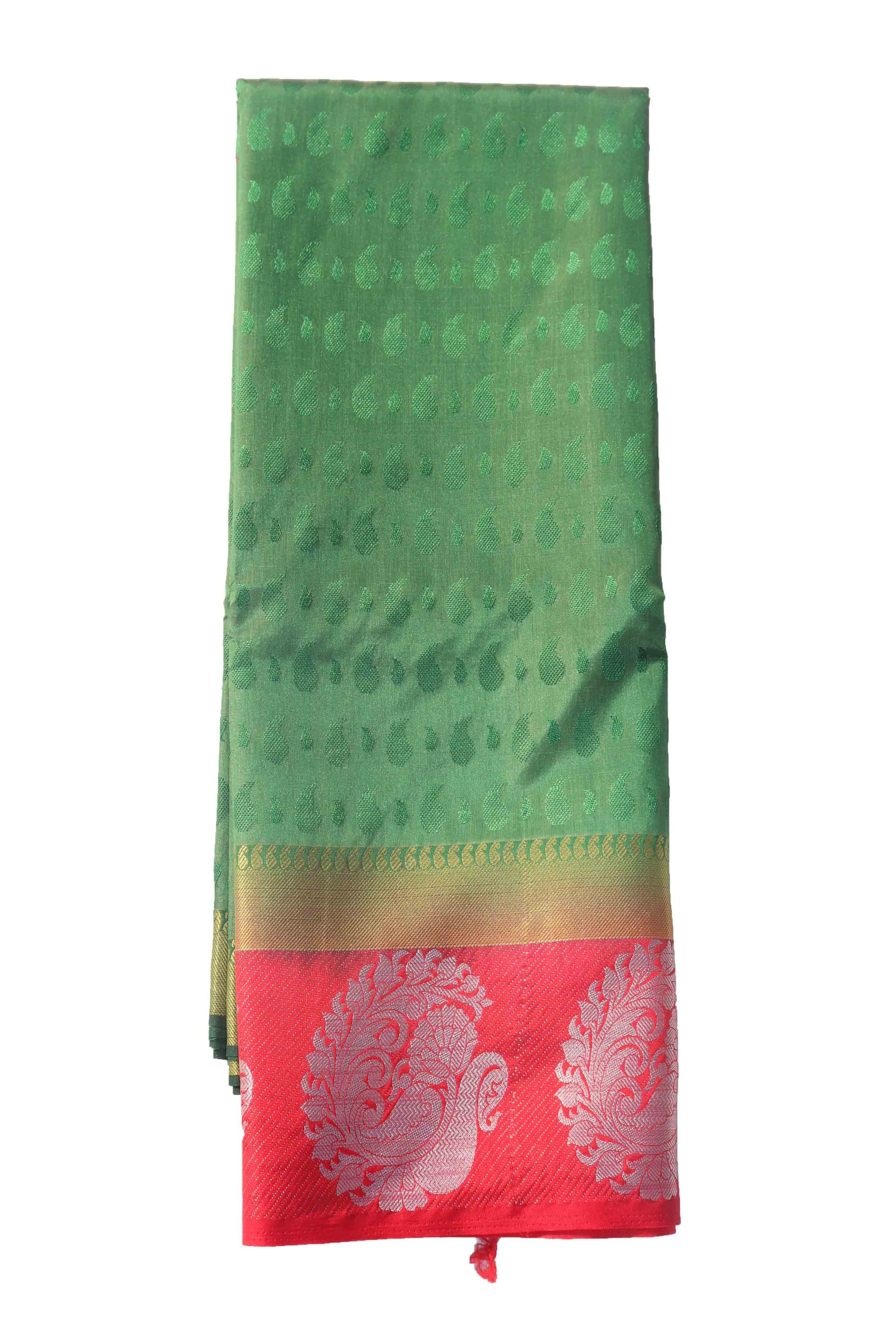 arars Women's Kanchipuram Pattu plain embosed Silk Saree With Blouse (550_bgreen_red )