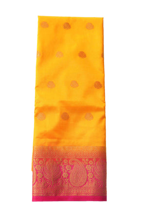 arars Women's Kanchipuram Pattu Banarasi Silk Saree With Blouse (551_gold_rani )