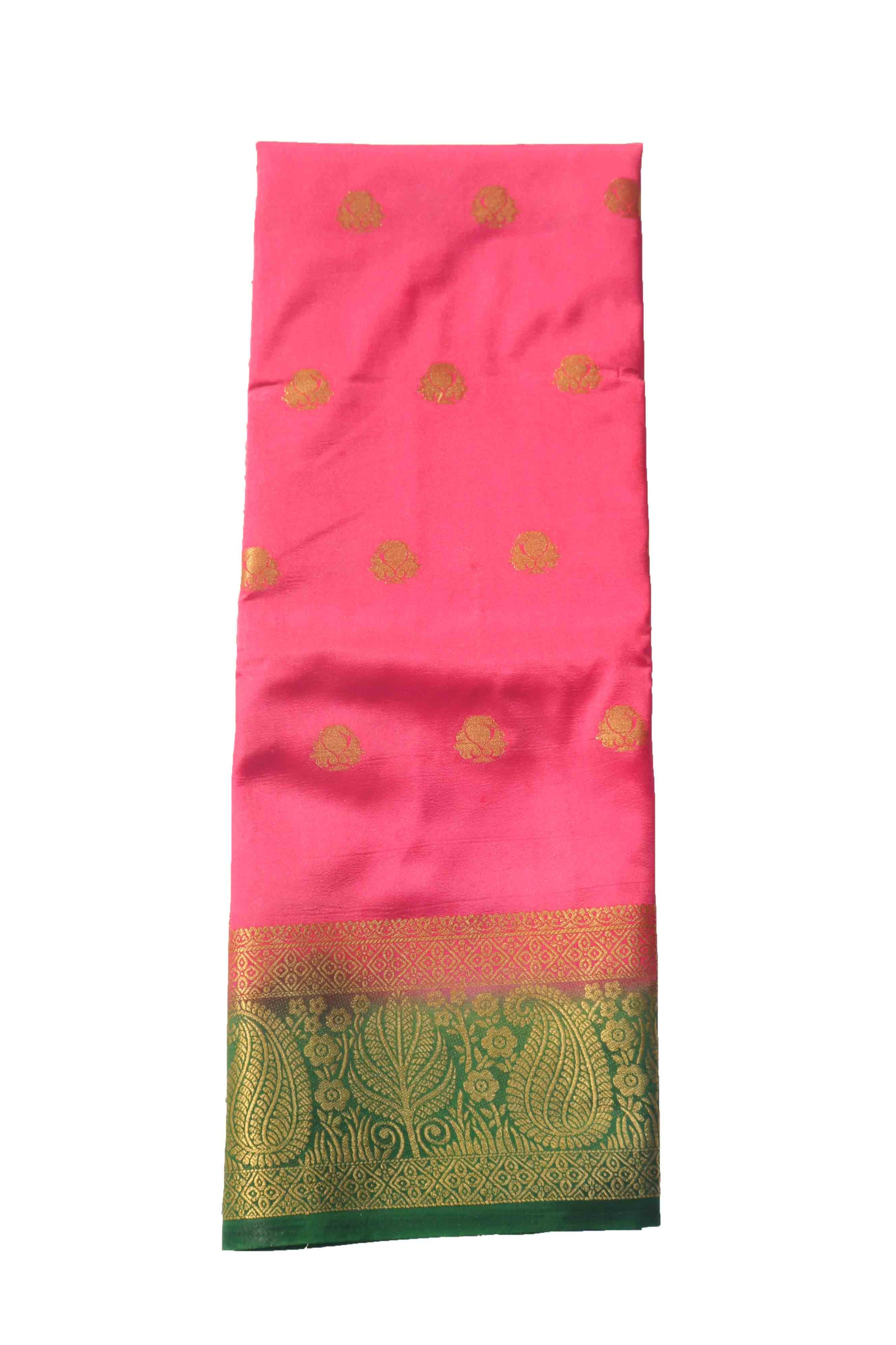 arars Women's Kanchipuram Pattu Banarasi Silk Saree With Blouse (551_strawberry_green )