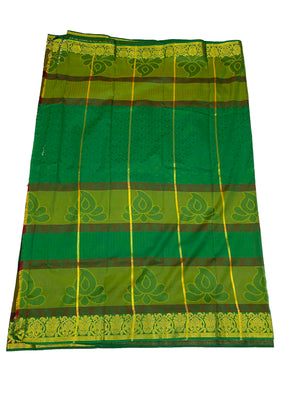 arars Women's Kanchipuram Pattu plain embosed Silk Saree With Blouse (552_bgreen_mustard )