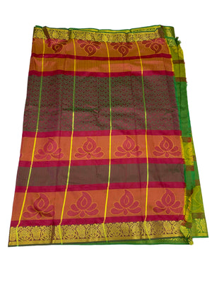 arars Women's Kanchipuram Pattu plain embosed Silk Saree With Blouse (552_green_magentha )