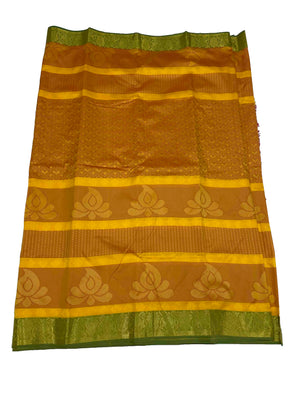 arars Women's Kanchipuram Pattu plain embosed Silk Saree With Blouse (552_mustard_green )
