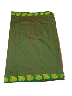 arars Women's Kanchipuram Pattu plain embosed Silk Saree With Blouse (553_marron_green )