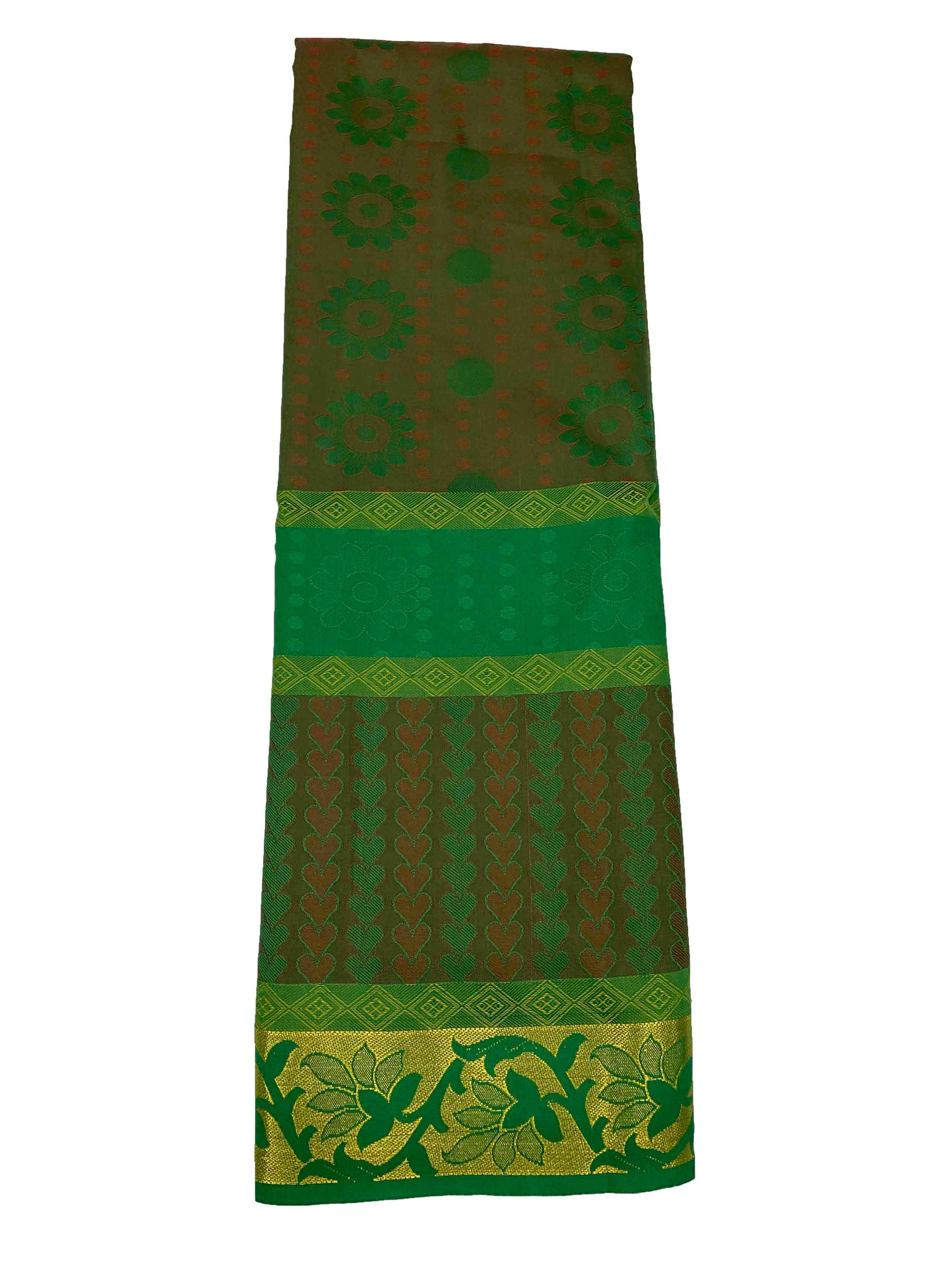 arars Women's Kanchipuram Pattu plain embosed Silk Saree With Blouse (554_green_multi )