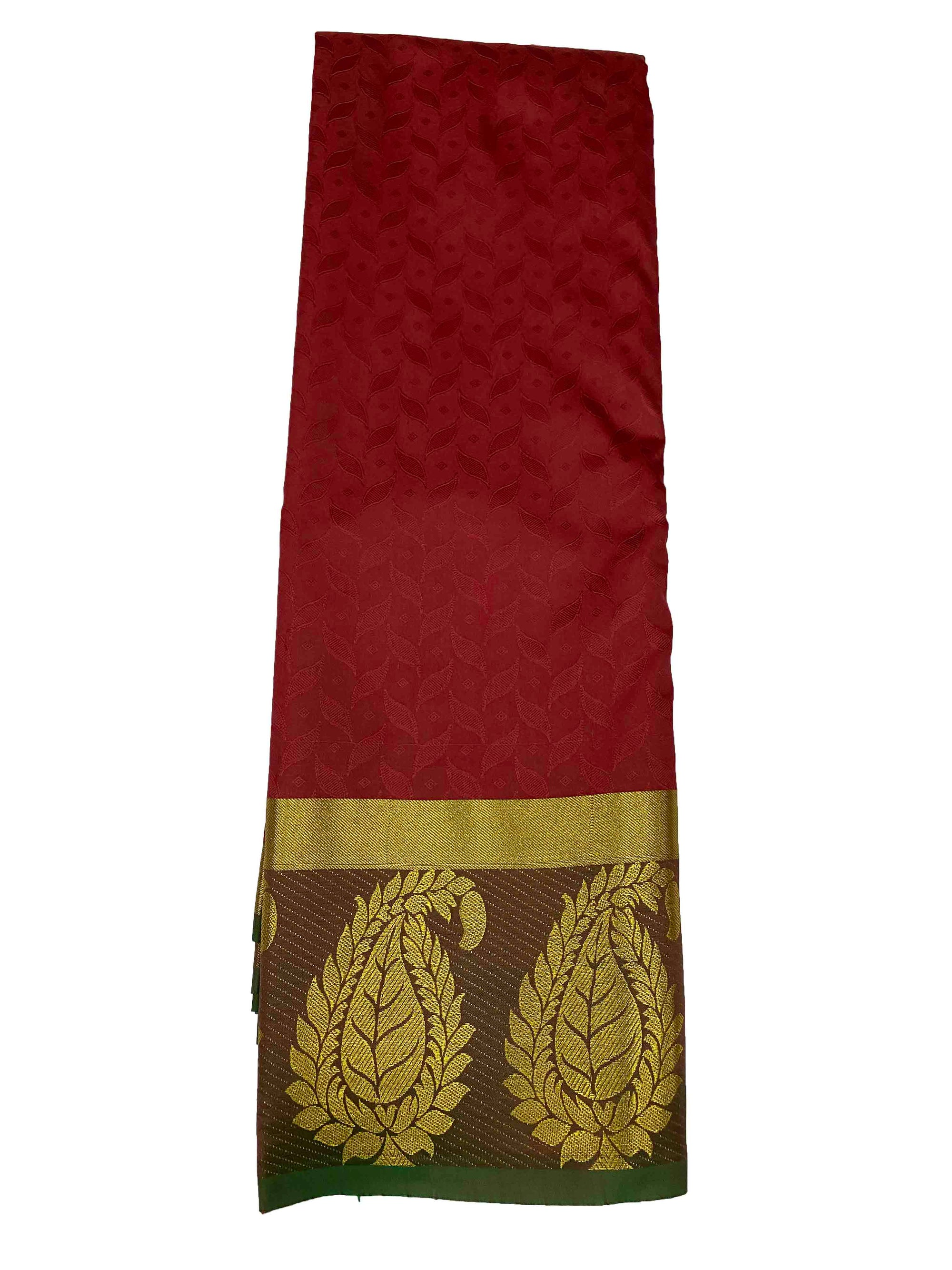 arars Women's Kanchipuram Pattu plain embosed Silk Saree With Blouse (556_maroon_green )