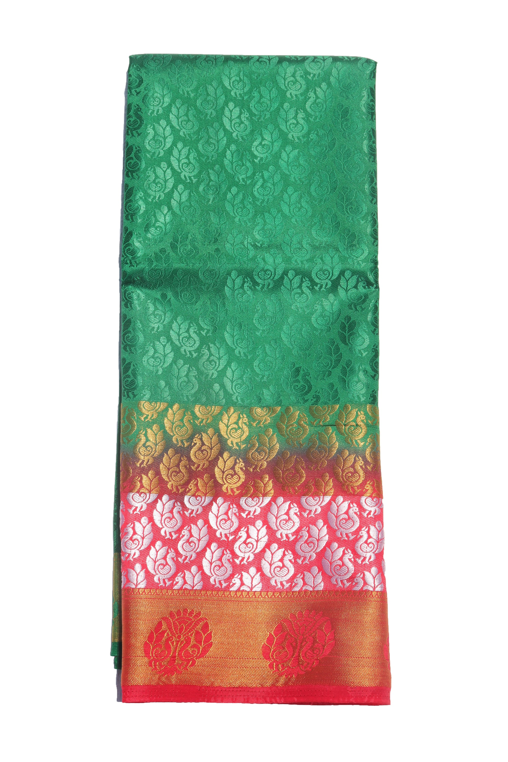 arars Women's Kanchipuram Pattu Plain Embosed Silk Saree With Blouse (571_green_red )