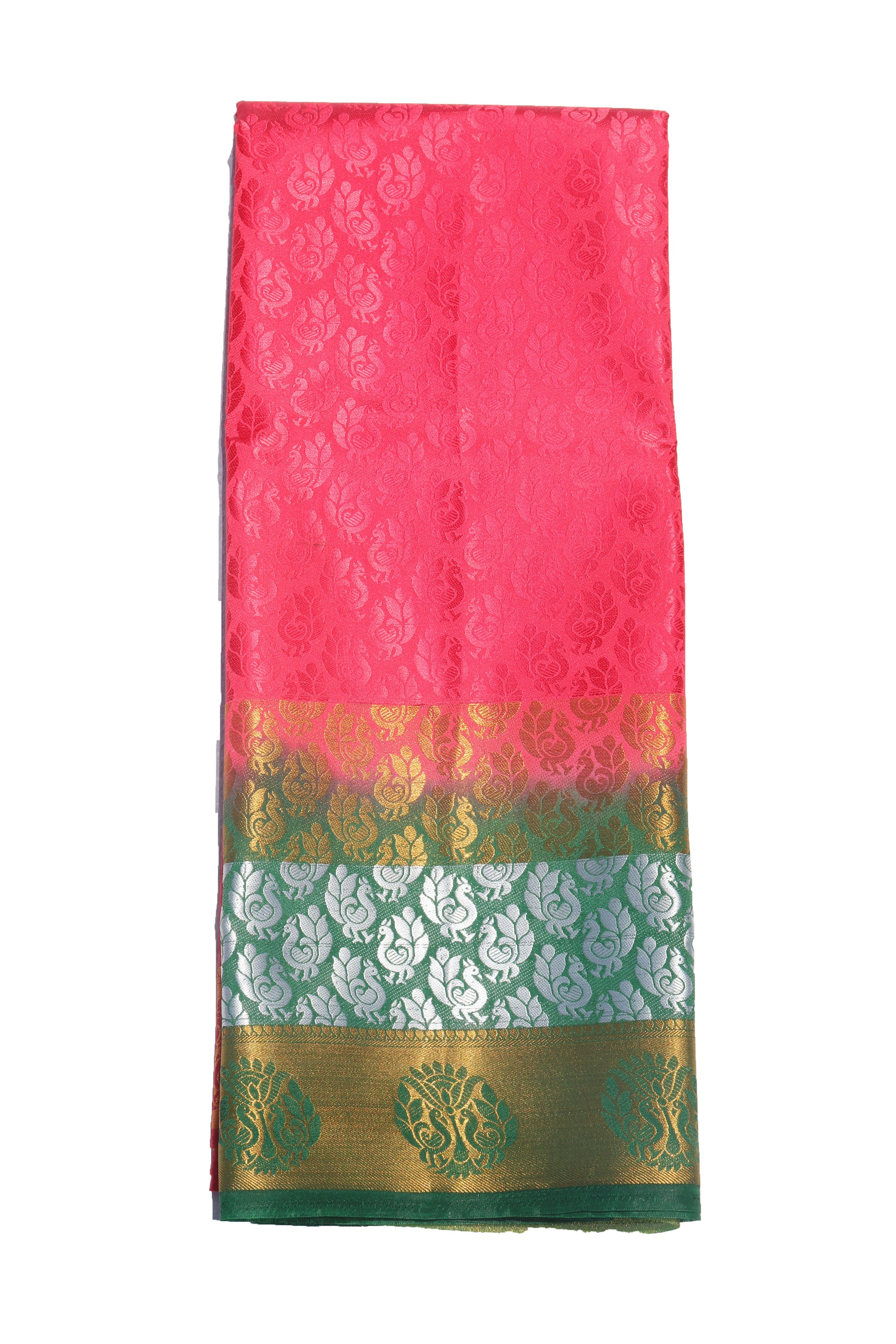 arars Women's Kanchipuram Pattu Plain Embosed Silk Saree With Blouse (571_strawberry_green )