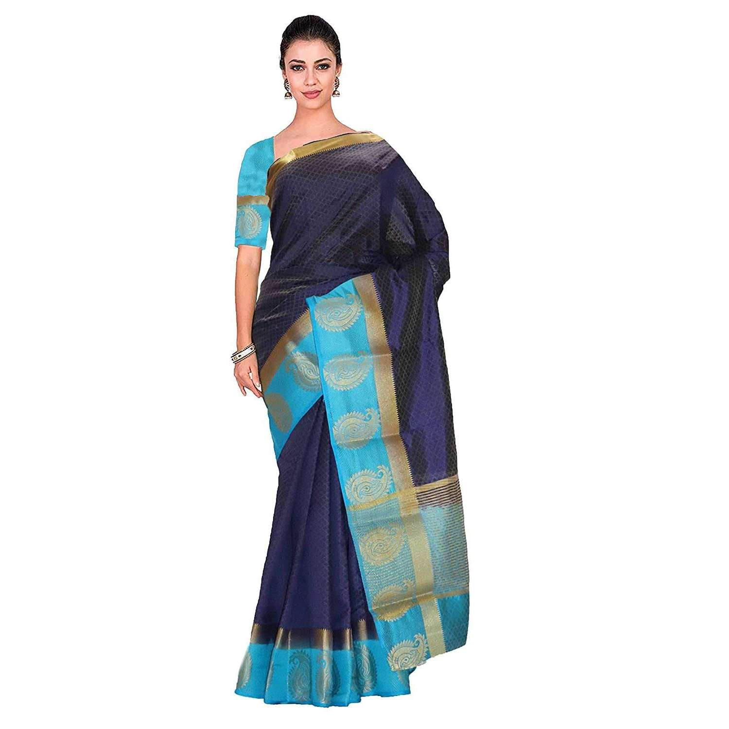 arars Women's kanchipuram kanjivaram pattu kanjivaram embosed plain silk saree with blouse (499, navy)