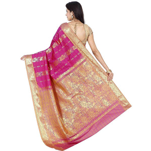 Arars Women's Kanchipuram Kanjivaram Pattu Style Artificial Plain Silk Saree With Blouse (SBB002 DEEP PINK )