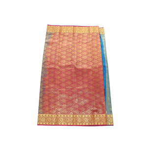 Arars Women's Banarasi Silk Saree Kanchipuram Pattu Style art Silk Saree With Blouse (AD02_blue&rani )
