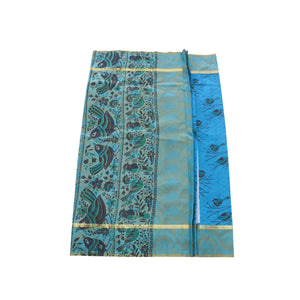 Arars Women's Banarasi Silk Saree Kanchipuram Pattu Style printed Silk Saree With Blouse (AD04_blue&blue )