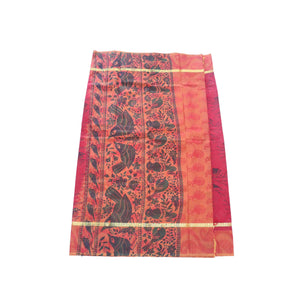 Arars Women's Banarasi Silk Saree Kanchipuram Pattu Style printed Silk Saree With Blouse (AD04_maroon&maroon )
