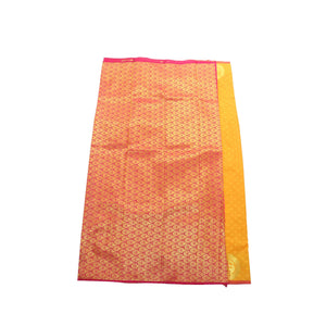 Arars Women's Banarasi Silk Saree Kanchipuram Pattu Style plain Silk Saree With Blouse (AD07_gold&rani )