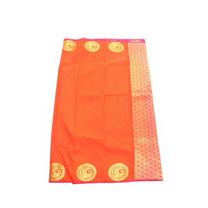 Arars Women's Banarasi Silk Saree Kanchipuram Pattu Style plain Silk Saree With Blouse (AD07_orange&rani )